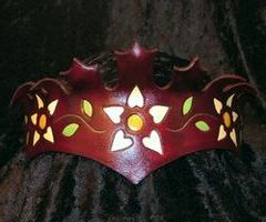 Flower Leaf Leather Crown